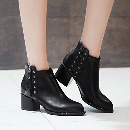 Mee Shoes Damen Blockabsatz Reißverschluss Stiefel Schwarz