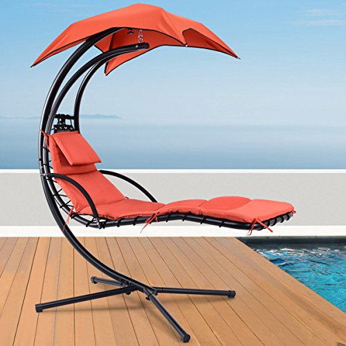 Giantex Hanging Chaise Lounger Chair Arc Stand Porch Swing Hammock Chair W/Canopy Large Weight Capacity (Cedar Chaise)