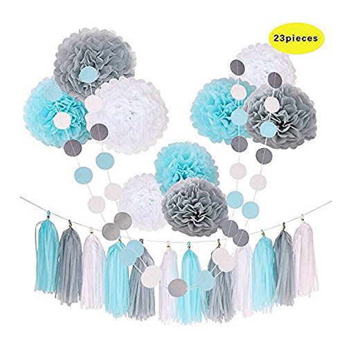 DinoPure 23pcs Party Tissue Pom Poms Tissue Flowers Baby Blue White Grey Baby Boy Shower/Party Paper Decorations First Birthday Boy Tissue Flowers Tassel Garland Circle Paper Baby Shower Decorations (Baby Themes Boy Shower)