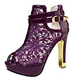 Best Heels - Getmorebeauty Women's Pretty Lace Flowers Open Toes High Review