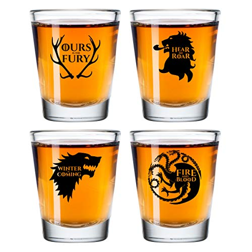 (Game of Thrones Inspired Shot Glasses Set of 4 (1.75 oz)- Royal House of Westeros Sigils Stark, Bratheon, Lannister, Targaryen- Gift for Dad, Men, Friends, Him or GOT Fan- Made in USA- Fun Watch Party)