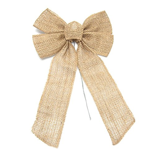 Homeford FKT00000RBH62312 Natural Burlap Bow with Wire, 17