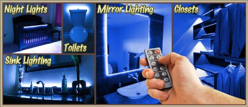 Biltek 16.4u0027 Ft Blue Bedroom Dresser Headboard LED Lighting Strip + Dimmer  + Remote + Wall Plug 110V   Headboard Closet Make Up Counter Mirror Light  Lamp ...