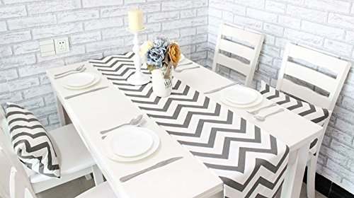 Uphome 1pc Classical Chevron Zig Zag Pattern Table Runner - Cotton Canvas Fabric Table Top Decoration, Grey and White by Uphome (Image #2)'