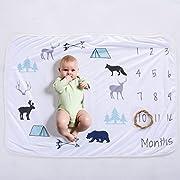 XNX Baby Milestone Blanket Newborn Photography Props Boy, Premium Fleece - New Mom shower gift