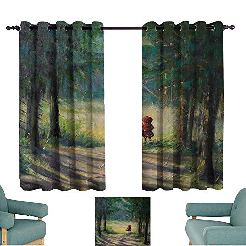 Dress Ancient Tie - DONEECKL Sliding Curtains Kids Watercolor Ancient Traditional Story Illustration Girl with Red Dress Brush Strokes Thermal Insulated Tie Up Curtain W63 xL72 Multicolor