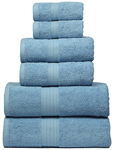 Bath Towels In 100% Ring Spun Combed Cotton With Luxurious & Ultra Soft,Highly Absorbent,Bathroom Towels,Bath Towel Set,Bath Towel Cotton,Bath towel- 27x54-Ligh Blue (Set of 6 ,Bath-2,Hand-2,Wash-2) by MAHI HOME