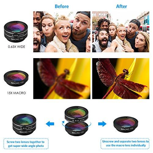 Criacr Phone Camera Lens, 9 in 1 Zoom Lens Kit, 0.36X Super Wide Angle Lens + 0.63X Wide Lens + 15X Macro Lens + 20X Macro Lens + 198°Fisheye Lens + CPL + Starburst Lens Telephoto Lens for Smartphones by AMIR (Image #4)
