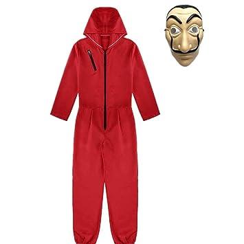 Much-Green Disfraz de La Casa de Papel con Máscara,Trajes con Capucha Mono de Adultos Niños,Disfraz de Carnaval Halloween(S)