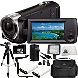 Sony HDR-CX405 HD Handycam Camcorder 11PC Accessory Bundle – Includes 2X Replacement Batteries + AC/DC Rapid Home & Travel Charger + 64GB MicroSD Memory Card + MORE