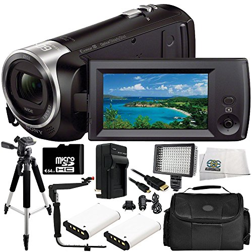Sony HDR-CX405 HD Handycam Camcorder 11PC Accessory Bundle – Includes 2X Replacement Batteries + AC/DC Rapid Home & Travel Charger + 64GB MicroSD Memory Card + MORE by SSE