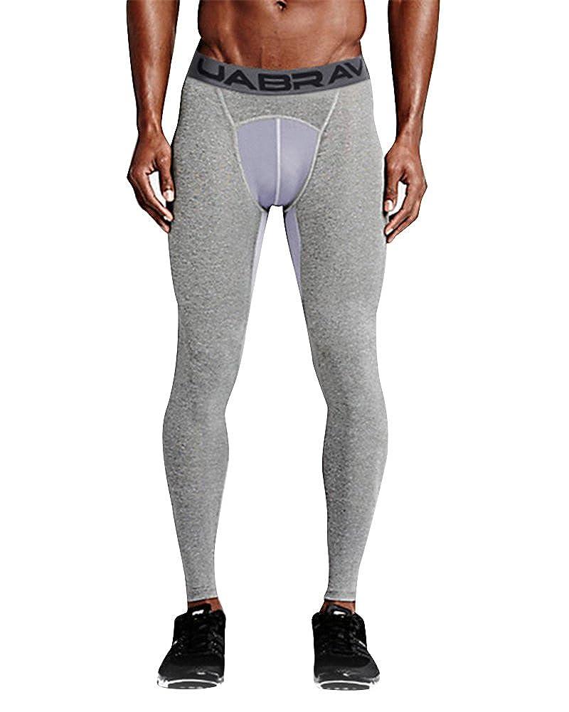 Uomo Compression Fitness Pantaloni Sport Pallacanestro Formazione Leggings Asciugatura Rapida Elastica