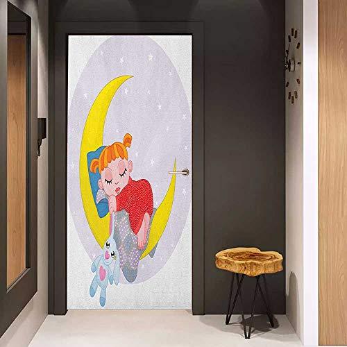 Onefzc Glass Door Sticker Decals Cartoon Girl on Moon with Her Teddy Bear Sleeping Luna Night Dream Cartoon Artful Door Mural Free Sticker W38.5 x H79 Red Yellow Grey
