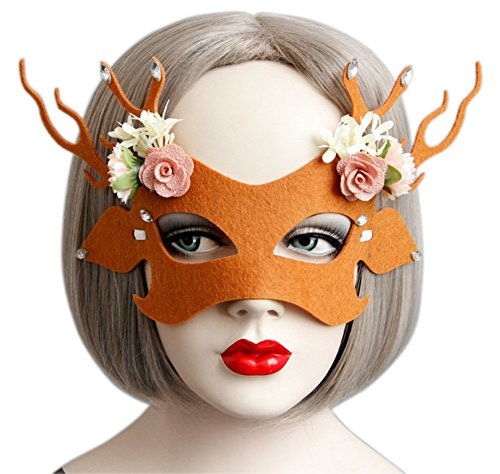YOMM Antlers Flower Half face mask Make-up Dance Stage Performances Halloween Christmas Party