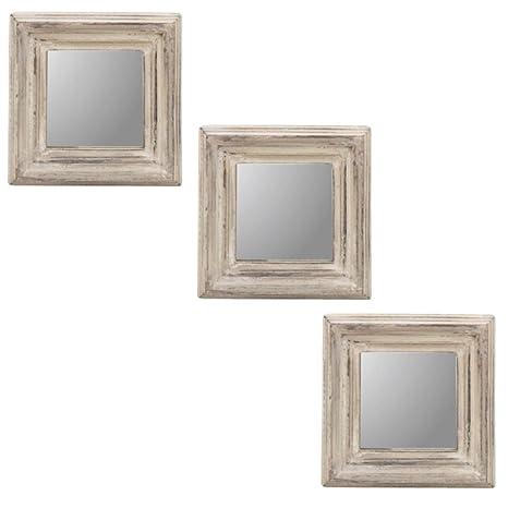 PTMD Wandspiegel Spiegel 3er Set Shabby Chic Wohnzimmer Weiß ...