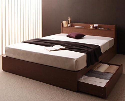 コンセント付き収納ベッド (シングル/ブラウン) スタンダードボンネルコイルマットレス:ブラック付きセット【AC095513】