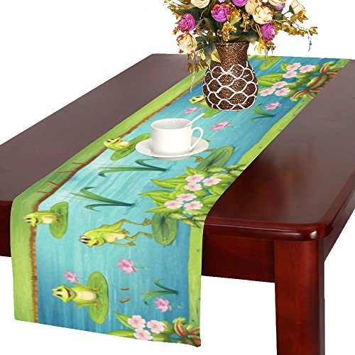- INTERESTPRINT Frog Living in The Pond Polyester Long Table Runner 16 X 72 Inches, Pink Water Lotus Flower Rectangle Table Cloth Placemat for Office Kitchen Dining Wedding Party Home Decor