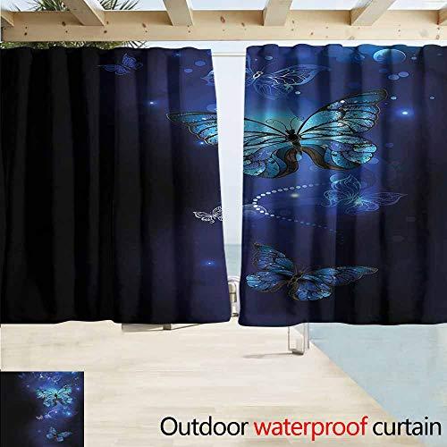MaryMunger Custom Curtain Dark Blue Monarch Butterflies Motif Draft Blocking Draperies W55x45L Inches - Monarch Clawfoot Tub
