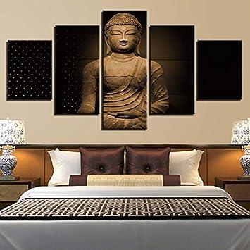 mmwin Impresiones HD Decoración del Hogar 5 Unidades de Buda Arte de la Pared de la Lona para la Sala de Imágenes Modulares Nuevas Obras Clásicas Obras de Arte del Cartel: Amazon.es: