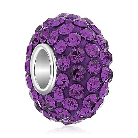 ThirdTimeCharm February Birthstone Charms Swarovski Elements Crystal Beads For Bracelets - February Birthstone Charm