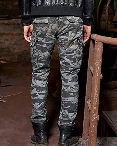 Pantaloni Jogging Lunghi Stretto Cotone Semplice Stile Uomo Da Grün Camouflage Cargo Grau In Casual pr5xSrwq