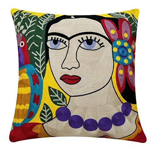 Little Lady Embroidered Pillow - Orange Elephant Square Home Decorative Embroidered Throw Pillow Cover Cushion Covers for Living Room 18 x 18 Inch. (Fashion Lady)