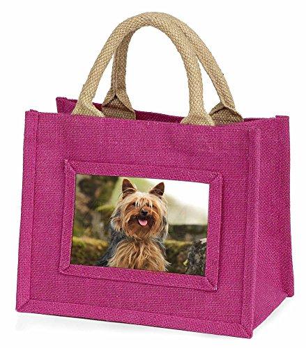 Advanta–Mini Pink Jute Tasche yorkshire terrier Hund Little Mädchen klein Einkaufstasche Weihnachten Geschenk, Jute, pink, 25,5x 21x 2cm
