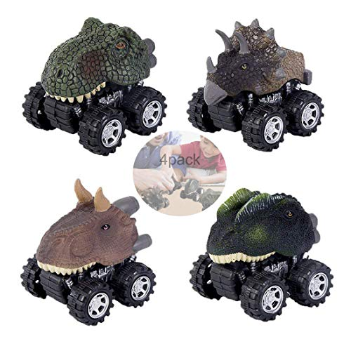 Lifelike Dinosaur Cars Pull Back Vehicles 4 Pack Mini Animal Car Figures Toy Truck with Big Wheels Tires Design for Boys Girls and Kids Gift