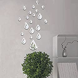 3D Wall Stickers NYKKOLA Water Drop Raindrop Modern Stylish Fashion Art Design Removable DIY Acrylic 3D Mirror Wall Decal Wall Sticker for Bathroom Sitting Room Home