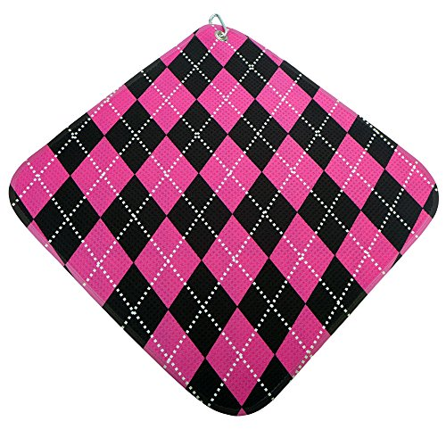 (Hot Pink and Black Argyle prints reversible microfiber golf towel two great looks! Heavyweight waffle style 16