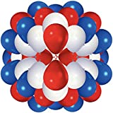 Party Balloon Set x 60: Red, White & Blue Party Balloons / Queens 90th Birthday / Jubilee by Rocking Party