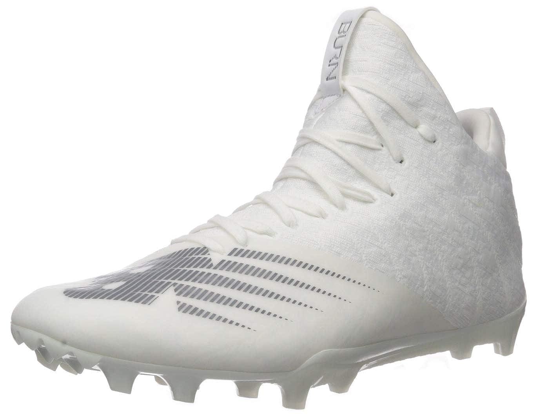 Image of Baseball & Softball New Balance Men's Burn X2 Mid-Cut Lacrosse Shoe, White/Dark Grey, 5.5 D US