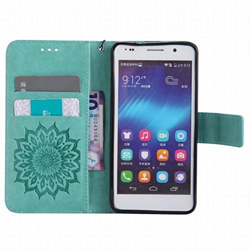 LEMORRY Huawei Honor 6 Custodia Pelle Cuoio Flip Portafoglio Borsa Sottile Bumper Protettivo Magnetico Morbido Silicone TPU Cover Custodia per Huawei Honor 6, Fiorire Verde