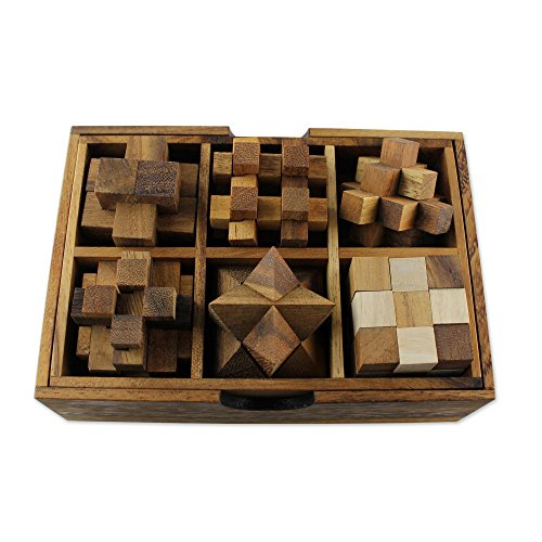 NOVICA Brown Hand crafted Raintree Wood Puzzle Game,'Puzzles' (Set of Six) -