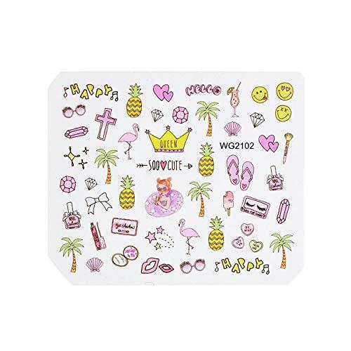 (1 Sheet Pink Diamond Milk Lipstick Pattern Nail Decals Nail Art Water Transfer Sticker,WG2102)