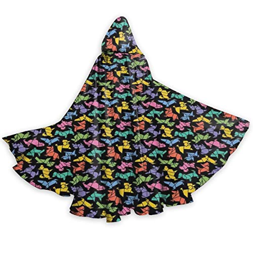 Adult Hooded Halloween Cloak Costumes Party Cape,Abstract Origami Style Graphic Dog Figures in Lively Colors Geometrical Animal Design