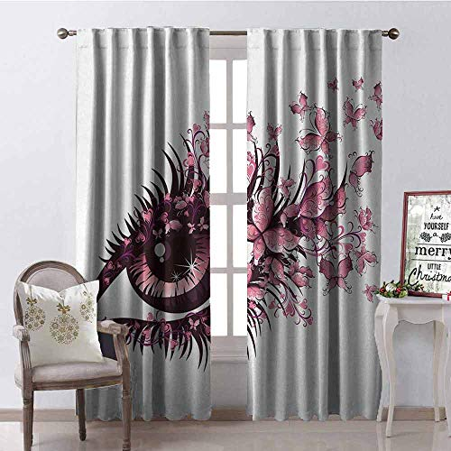 GloriaJohnson Butterflies Shading Insulated Curtain Fairy Female Eye with Butterflies Eyelashes Mascara Stare Party Makeup Soundproof Shade W42 x L90 Inch Light Pink Purple