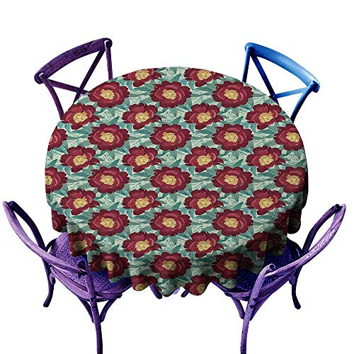 Printed Poppies Modern (familytaste Floral,Round Tablecloth D 70