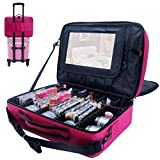 Relavel 3 layer Multi -Functional Professional Makeup Train Case Super Large Makeup Bag Organizer for Brush Hair Curler Salon Nail Beauty tool Attach to Trolley With Mirror (Extra Large Hot Pink)