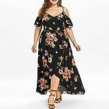 FUNIC-Dress Funic Plus Size Womens Casual Short Sleeve Cold Shoulder Boho Flower Print Long Dresses