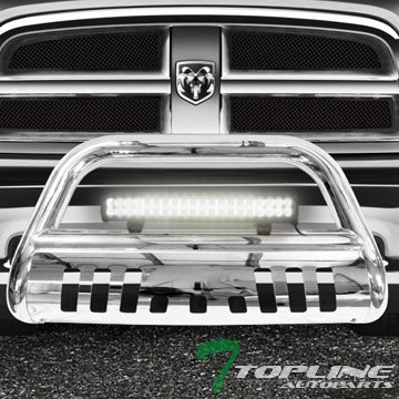 Topline Autopart Polished Stainless Steel Bull Bar Brush Push Bumper Grill Grille Guard With Skid Plate + 120W CREE LED Fog Light For 09-18 Dodge Ram 1500 ()
