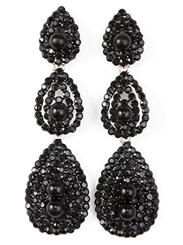 Vijiv Gatsby Earrings Vintage 1920s Drop Chandelier Flapper Jewelry Accessories Black One Size