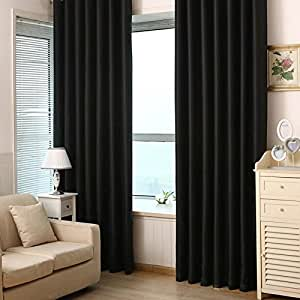 Niome Solid Blackout Window Curtain Living Room Darkening Sheer Panel Drape Shade Covering 39 by 84 Inch Black