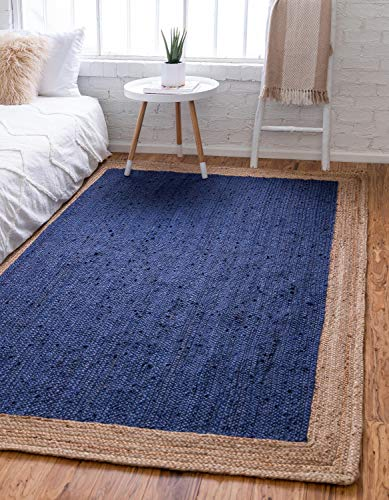Unique Loom Braided Jute Collection Hand Woven Natural Fibers Navy Blue Area Rug (4' 0 x 6' - 4/0 Natural