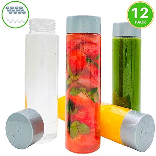 16oz (480ml) Plastic Juice Bottles w/Silver Lids – 12 Pack Empty Clear PET Plastic Water Bottles w/Wide Mouth: Great for Juice Container, Milk, Smoothies, Sensory Bottles – Reusable, Disposable