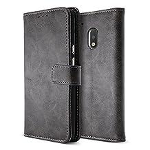 BELK Motorola Moto G4 Play Case, Retro Vintage Leather Wallet Case for Motorola Moto G4 Play, Classical Manetical Snap Folio Flip Card Cover for Moto G 4th Gen (5 Inch), Sandy Grey