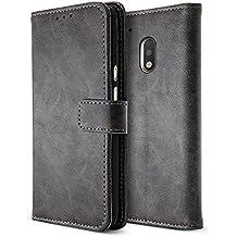 BELK Motorola Moto G4 Plus Case, Retro Vintage Leather Wallet Case for Motorola Moto G4 Plus, Classical Manetical Snap Folio Flip Card Cover for Moto G 4th Gen (5.5 Inch), Sandy Grey