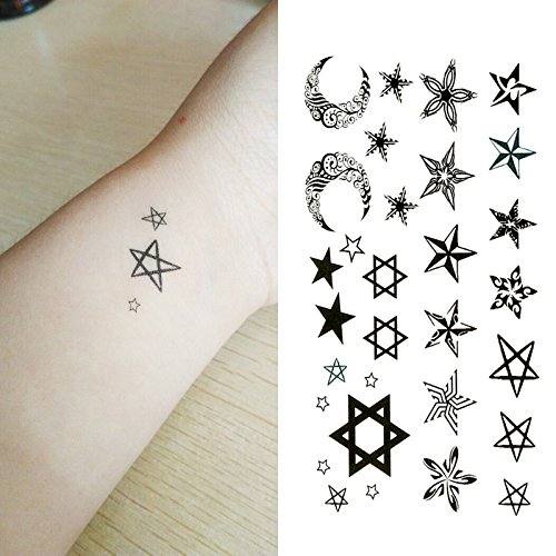Oottati Small Cute Temporary Tattoo Star Moon Totem (2 Sheets)
