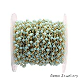 Gems-World Jewelry Light Aqua Chalcedony Gemstone 3-4 mm Rondelle Beads, Gold Plated Wire Wrapped Rosary Chain, Necklace Link Chain. (HRCG-03)