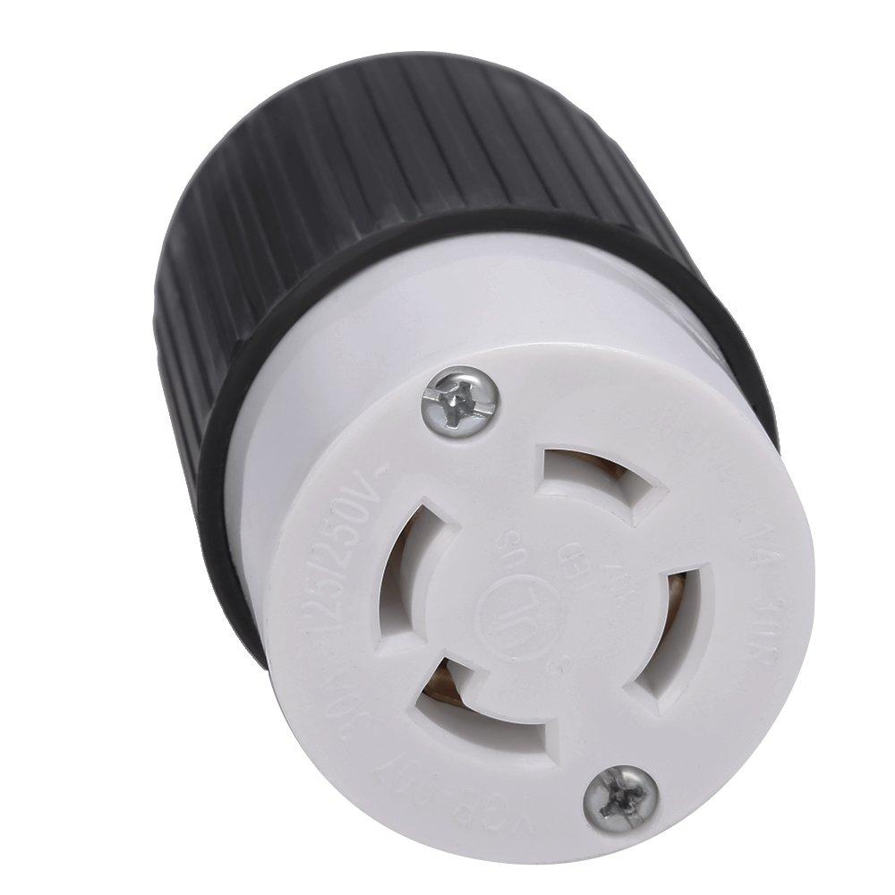 L14-30R 30 Amps 125/250V 4 Prong Generator Twist Locking Plug Connector Female Receptacle QUIOSS